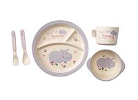 Набор детской посуды из бамбука - Бегемотик