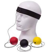 Тренажер для бокса с тремя мячами fight ball BO-1659 (пневмотренажер, мяч черный, красный, желтый) Код BO-1659