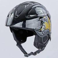 Шлем горнолыжный с механизмом регулировки MOON MS-2947-S (ABS, p-p S-53-55, черный-золотой) Код MS-2947-S