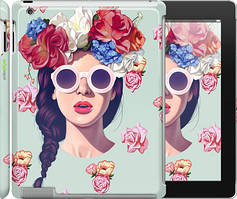 """Чехол на iPad 2/3/4 Девушка с цветами """"2812c-25"""""""
