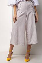 Женские Льняная юбка-брюки в бежевую полоску с высокой талией и пуговицами