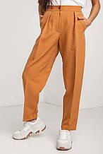 Женские Бежевые брюки бананы укороченные с высокой посадкой и стрелками