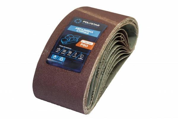 Лента шлифовальная бесконечная Polystar Abrasive 75х533 мм P80 (комплект 10штук), фото 2