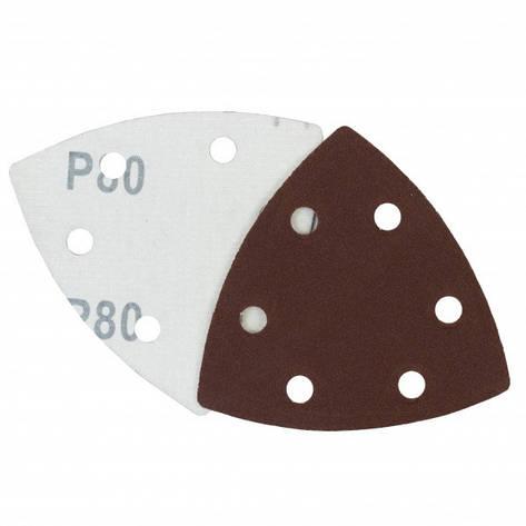 Треугольная шлифовальная шкурка на липучке Velcro  Polystar Abrasive 90 мм, P80 (с отв.), фото 2