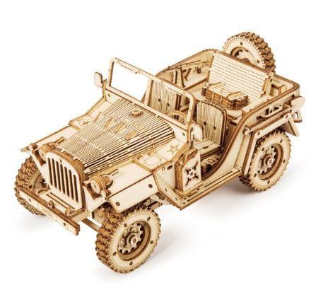 Деревянный 3D конструктор Robotime - Военный джип - 369 деталей