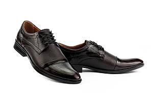 Мужские туфли кожаные весна/осень коричневые Slat 19401 на шнурках, фото 3