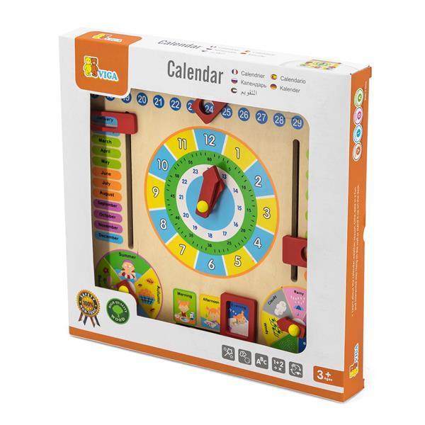 Деревянный календарь Viga Toys с часами (59872)