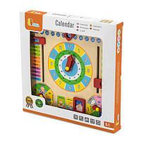 Деревянный календарь Viga Toys с часами (59872), фото 1