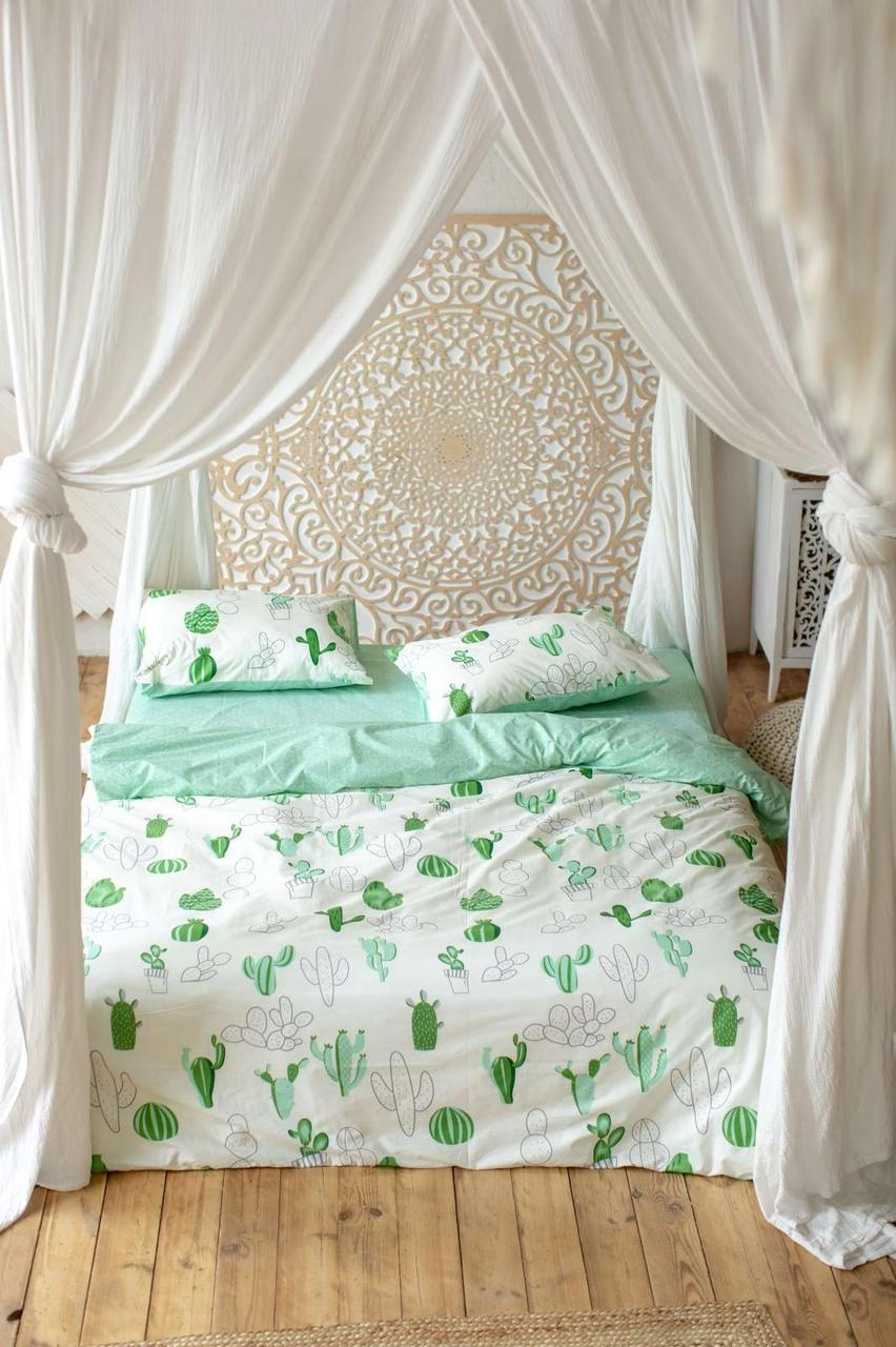 Комплект постельного белья Prestige Мексика бело-зеленый полуторный SKL29-250697