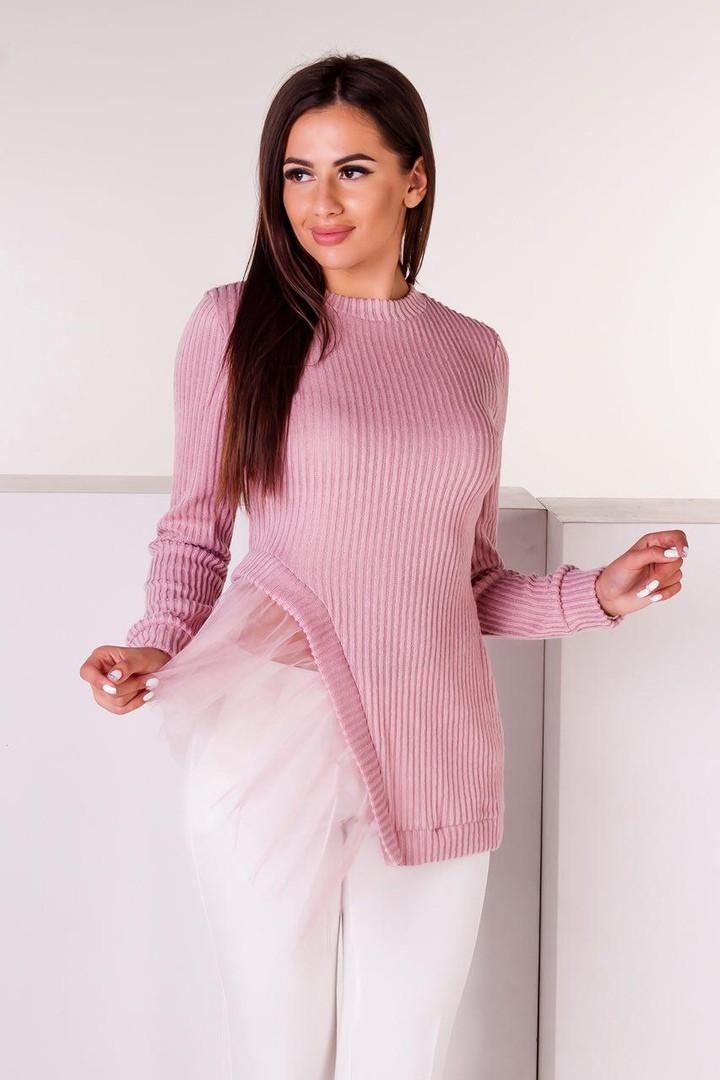 Оригинальная кофта с фатином розовая/ розового цвета/ цвет розовый С1838
