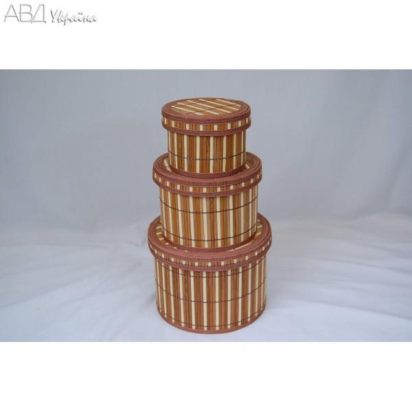 2240416 Коробка косметична, кругла, 3 шт., бамбук