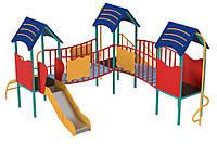 Детский игровой спортивный Комплекс Радость, 3 домика, детская горка, 2 лестницы, веселый спуск 363х342х196 см