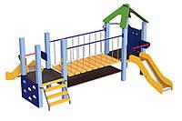 Детский игровой спортивный Комплекс Mister Cat, 2 горки, переход-мостик на цепях, 2 лестницы 350х330х200см