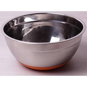 Миска стальная d 24 х 11 см с силиконовым дном оранжевая Kamille Labro KM-4349