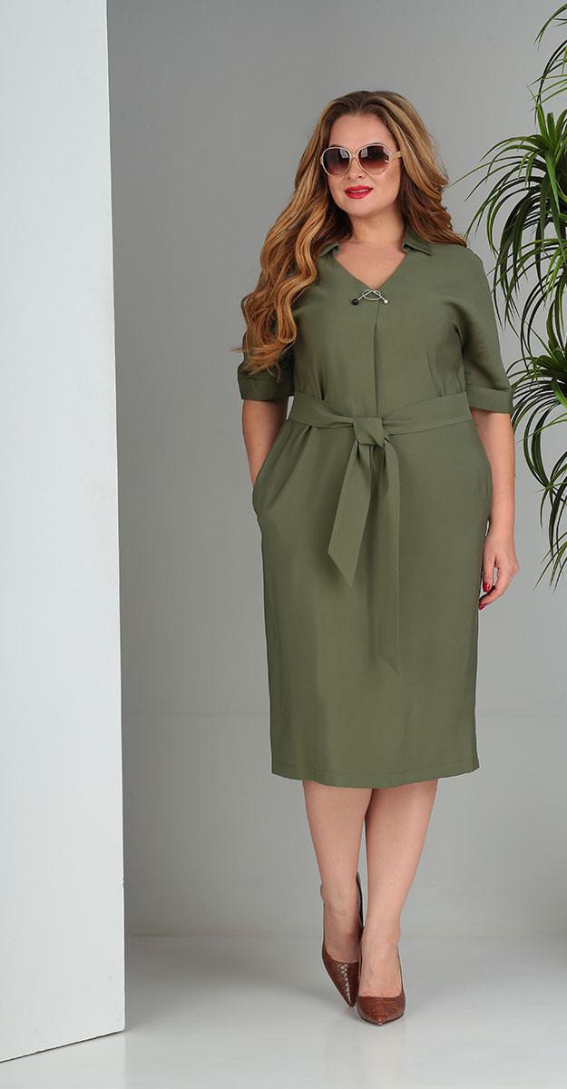 Платье Sandyna-13669/1 белорусский трикотаж, хаки, 48
