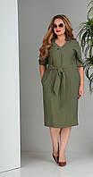Платье Sandyna-13669/1 белорусский трикотаж, хаки, 48, фото 1
