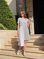 """Ассиметричное шелковое платье """"Design"""" с сеткой и коротким рукавом (большие размеры)"""
