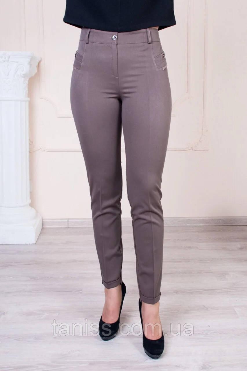 """Женские летние брюки """"Молли"""", ткань полированный габардин, размеры 46,48,50,52,54,56,58,60, беж,"""