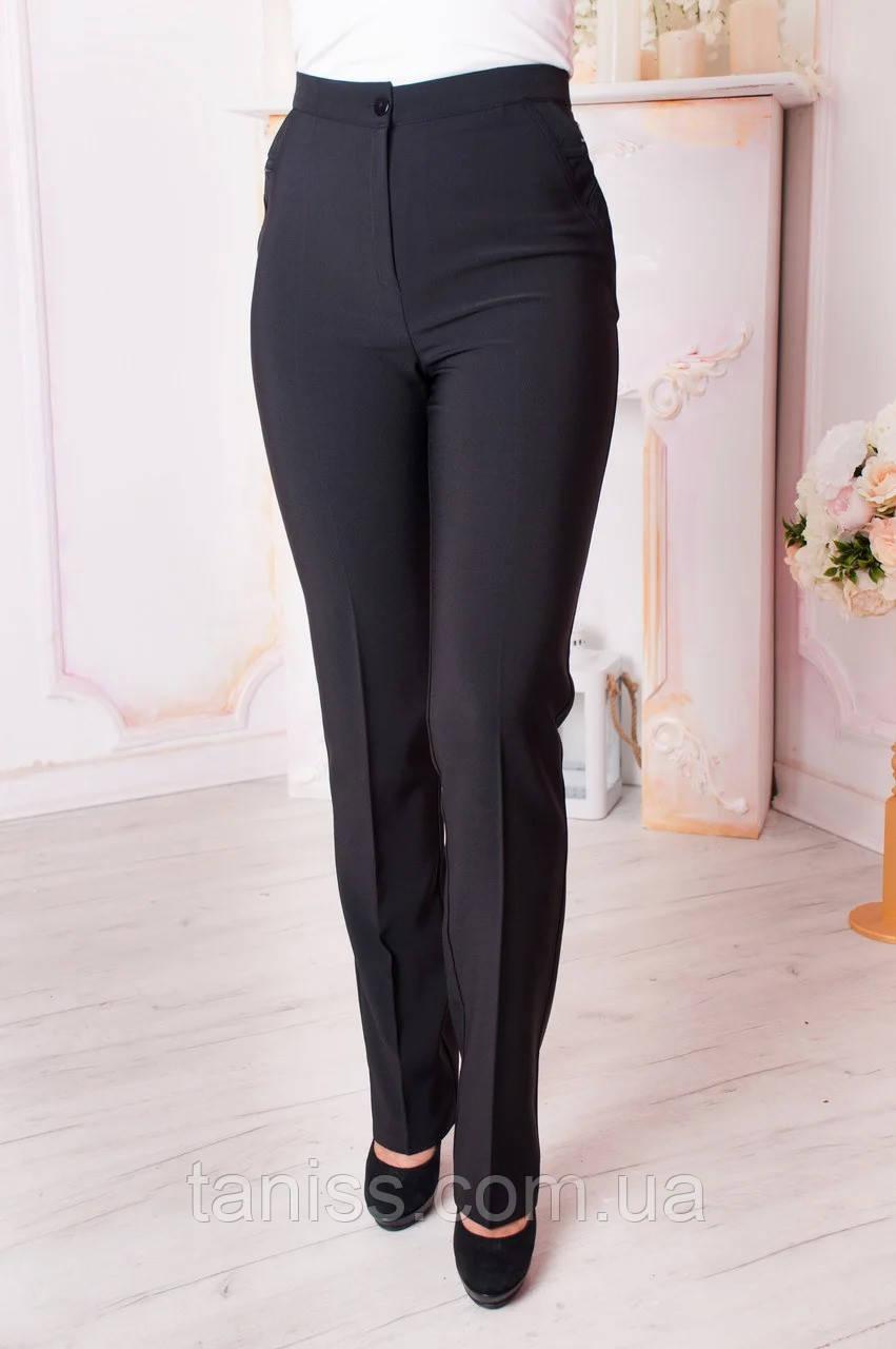 """Женские брюки """"Вера"""" , ткань Анжелика, р. 44,46,48,50,52,56,58,60 черный"""