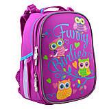 Рюкзак шкільний каркасний YES H-25 Funny Birdies Бордовий, фото 7