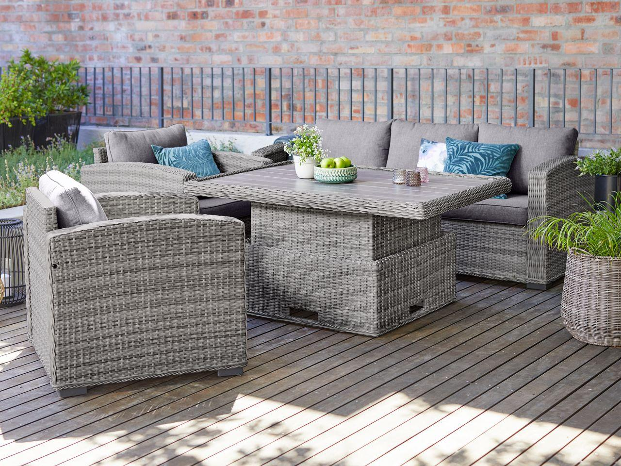 Комплект мебели из искусственного ротанга 3-местная софа, 2 кресла, 1 стол серый