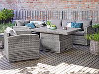 Комплект мебели из искусственного ротанга 3-местная софа, 2 кресла, 1 стол серый, фото 1