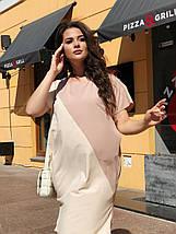 """Летнее комбинированное  платье свободного кроя """"Аллегра"""" с карманами (большие размеры), фото 3"""
