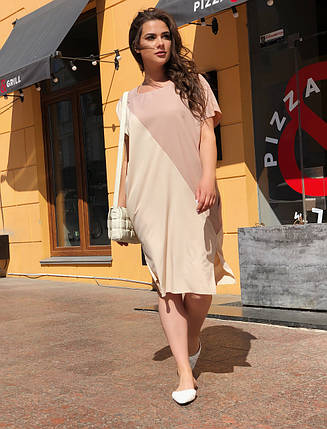 """Летнее комбинированное  платье свободного кроя """"Аллегра"""" с карманами (большие размеры), фото 2"""