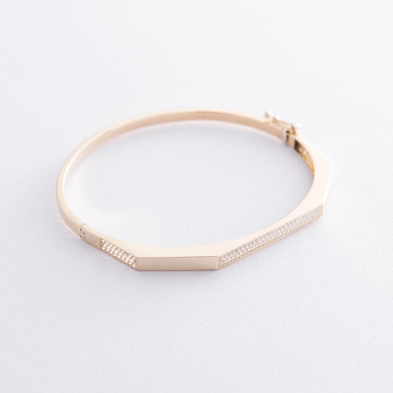 Жесткий браслет в желтом золоте (фианиты)
