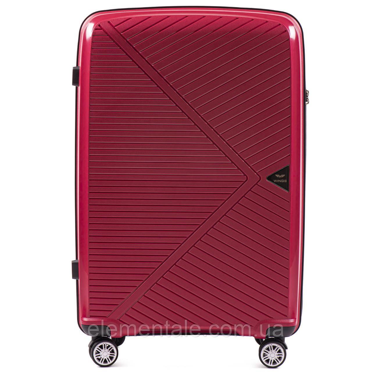 Пластиковий Чемодан середній на колесах для подорожей дорожній Wings MALLARD Червоний