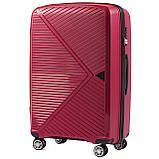 Пластиковий Чемодан середній на колесах для подорожей дорожній Wings MALLARD Червоний, фото 2