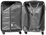 Пластиковий Чемодан маленький на колесах для подорожей дорожній Wings Linnet Темно-сірий ручна поклажа, фото 4