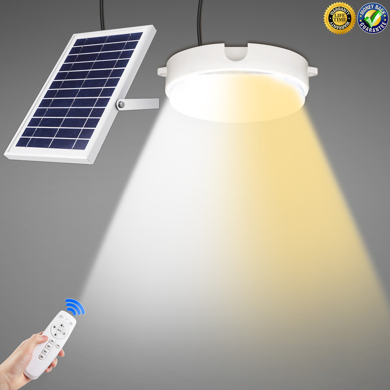 Светодиодный потолочный светильник на солнечной батарее два цвета с пультом дистанционного управления