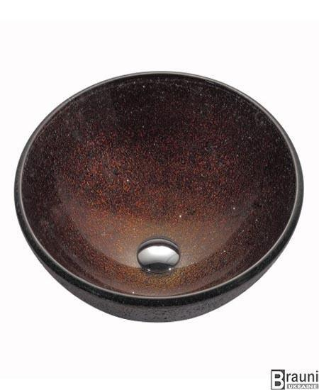 Kraus ( США ) Стеклянная раковина Callisto GV-570-12 коричневая, 42 см