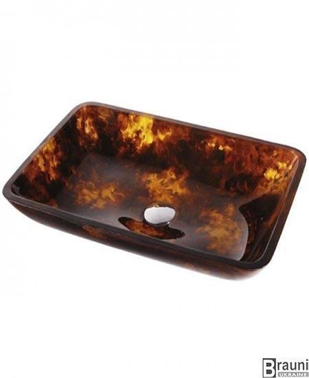 Kraus ( США ) Стеклянный умывальник раковина Dark Amber GVR-410-RE-15 коричневый с золотым, 55 см