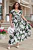Літня сукня розкльошені з принтом квіти, 50-64 розмір