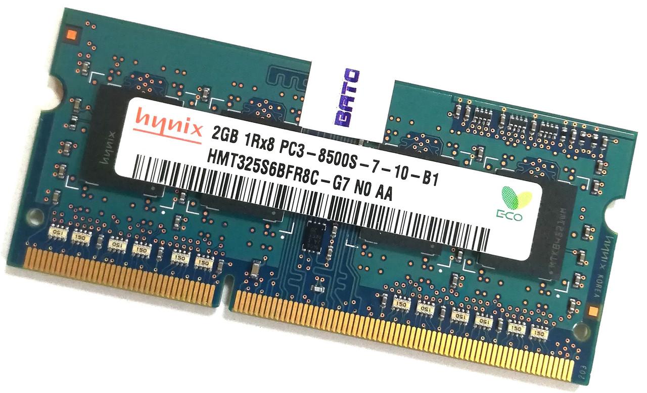 Оперативная память для ноутбука Hynix SODIMM DDR3 2Gb 1066MHz 8500S 1R8 CL7 (HMT325S6BFR8C-G7 N0 AA) Б/У