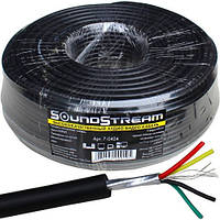 Кабель аудио-видео Sound Stream, 4 жилы, в экране, медь, круглый, чёрный, 100м