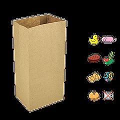 Бумажный Пакет Крафт с прямоугольным дном 120х85х250мм (ШхГхВ) 50г/м² 300шт (90)