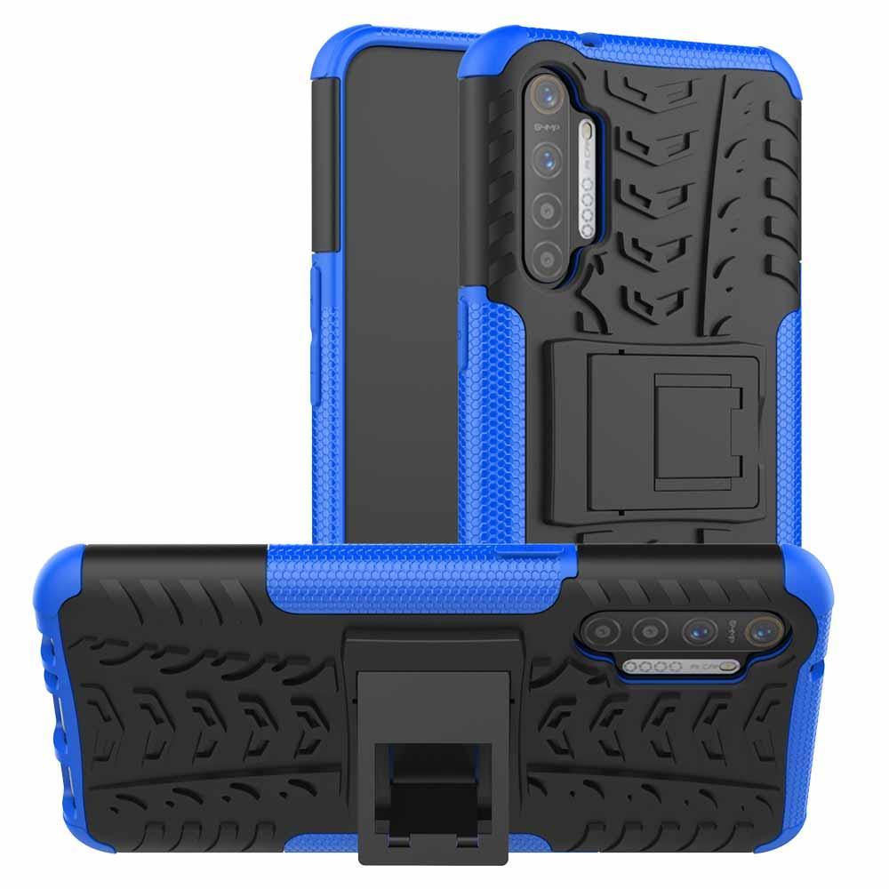 Чехол Armored для Realme XT / X2 противоударный бампер с подставкой синий