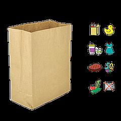 Бумажный Пакет Крафт с прямоугольным дном 210х115х280мм (ШхГхВ) 50г/м² 200шт (298)