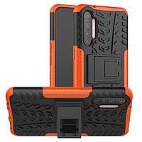 Чехол Armored для Realme XT / X2 противоударный бампер с подставкой оранжевый