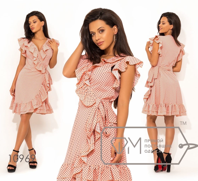 Легкое и милое летнее платье на запах с многослойными рюшами Р-р.S, M, L Код 496Д