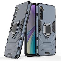 Чехол Ring case для Realme XT / X2 бронированный бампер с кольцом темно-синий