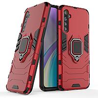 Чехол Ring case для Realme XT / X2 бронированный бампер с кольцом красный