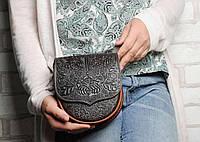 Маленькая кожаная женская коричневая сумка через плечо, тисненая кожа, фото 1
