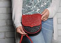 Маленькая кожаная женская сумка через плечо, тисненая кожа, фото 1
