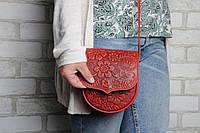 Компактная кожаная женская сумочка, тисненая кожа, красная, фото 1