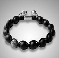 Браслет Shamballa Nialaya Hollywood, черная яшма, Сваровски