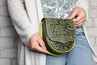 Женская мини-сумочка из натуральной кожи, сумка через плечо, оливковая, фото 1